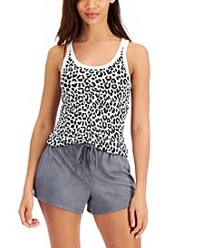 Printed Ribbed Tank Top & Solid Shorts, Created for Macy's