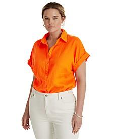 Plus Size Linen Dolman Sleeve Top