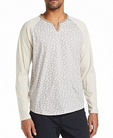 Men's Slim Fit Fuzzy Print Henley T-shirt and a Free Face Mask