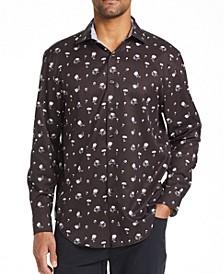 Men's Slim Fit Dandelion Print Shirt and a Free Face Mask