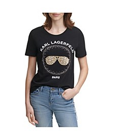 Karl Lagerfeld Sequin Sunglass Tee