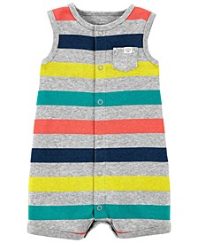Baby Boys Striped Snap-Up Romper