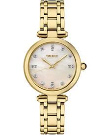 Women's Diamond (1/8 ct. t.w.) Gold-Tone Stainless Steel Bracelet Watch 30mm