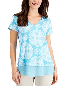 Petite Ariana Printed Layered-Look Top, Created for Macy's