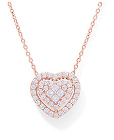 Cubic Zirconia Heart Halo Pendant Necklace in Fine Silver Plate Rose Gold