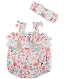 Baby Girls Floral-Print Sunsuit & Headband Set