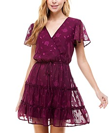 Juniors' Printed Flutter-Sleeve Tiered V-Neck Dress
