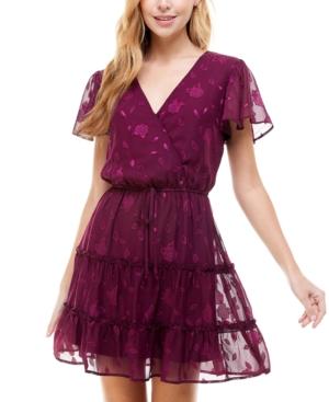 Juniors' Printed Flutter-Sleeve Tiered V-Neck Dress