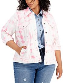 Plus Size Tie-Dye-Print Denim Jacket, Created for Macy's