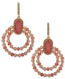 Gold-Tone Stone Beaded Orbital Drop Earrings