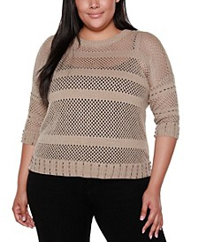 Black Label Plus Size Crew Neck 3/4 Sleeve Sweater