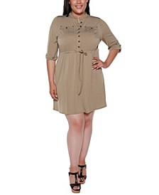 Black Label Plus Size 3/4 Sleeve Button Down Mandarin Collar Dress with Drawstring Waist