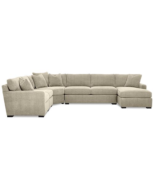 5 Piece Fabric Chaise Sectional Sofa