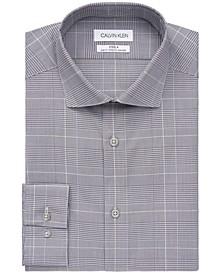 Calvin Klein Men's STEEL Slim-Fit Non-Iron Stretch Performance Plaid Dress Shirt