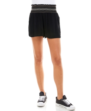 Juniors' Solid Smocked-Waist Shorts