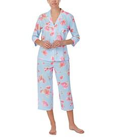 Printed 3/4 Sleeve Capri Pants Pajama Set