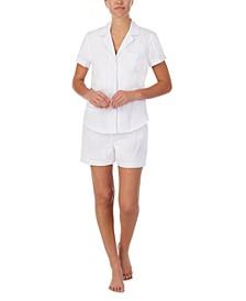 Cotton Shadow Stripe Shorts Pajama Set