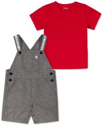 Baby Boys 2-Pc. T-Shirt & Chambray Shortalls Set