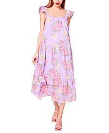 Cotton Bouquet-Print Maxi Dress