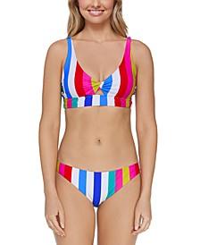 Juniors' Coast To Coast Twist-Front Bikini Top & Bikini Bottoms
