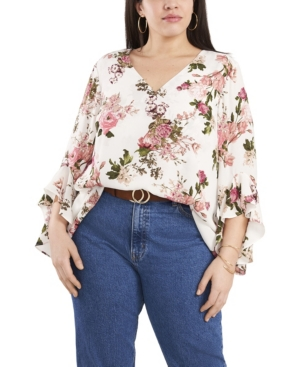 Vince Camuto PLUS SIZE FLUTTER SLEEVE BEAUTIFUL BLOOMS V-NECK TUNIC TOP