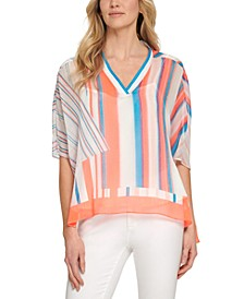 Printed Elbow-Sleeve V-Neck Top