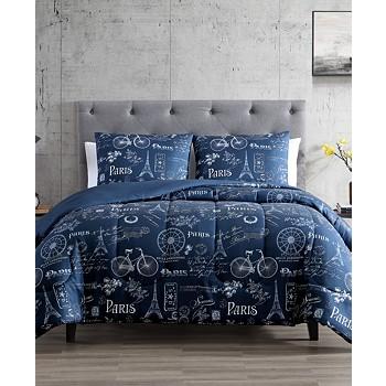 Hallmart Collectibles Paris Minuit 2-Piece Reversible Twin Comforter Set