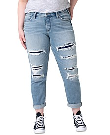 Plus Size Patched Destroyed Boyfriend Jeans