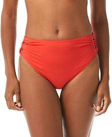 Strappy-Side High-Leg Bikini Bottoms