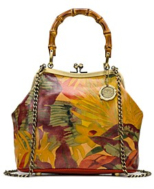 Laureana Frame Leather Satchel With Bamboo Handles