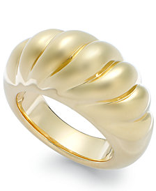 Signature Gold™ Ribbed Dome Ring in 14k Gold over Resin