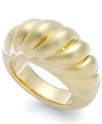 Signature Gold™ Ribbed Dome Ring in 14k Gold over Resin Rings