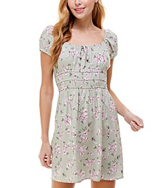Juniors' Puff-Sleeve Fit & Flare Dress