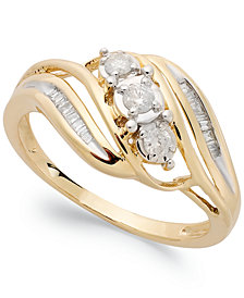 Diamond Three-Stone Ring in 10k White or Yellow Gold (1/5 ct. t.w.)