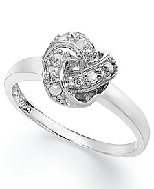 Diamond Love Knot Ring in Sterling Silver (1/10 ct. t.w.)