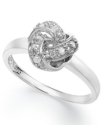 Diamond Love Knot Ring In Sterling Silver 1 10 Ct T W Rings