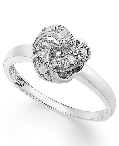 de55d8b95 Macy's Diamond Love Knot Ring in Sterling Silver (1/10 ct. t.w. ...