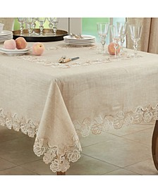 """Lace Tablecloth with Rose Border Design, 54"""" x 54"""""""