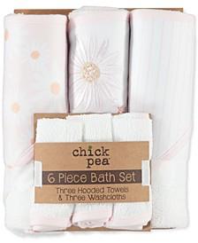 Baby Girls 6-Pc. Towel & Washcloth Set