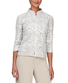 Embroidered Sequined 3/4-Sleeve Jacket