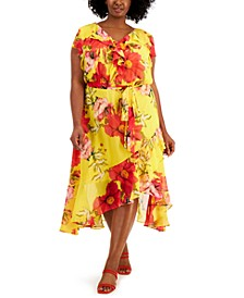 Plus Size Ruffled Asymmetrical-Hem Midi Dress