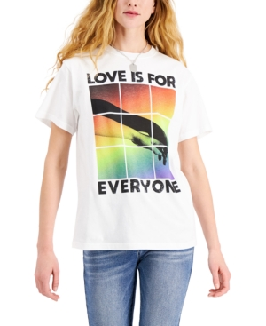 Juniors' Cotton Love Is For Everyone Graphic-Print T-Shirt
