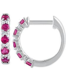 "Ruby (1/2 ct. t.w.) & Diamond (1/20 ct. t.w.) Small Hoop Earrings in 14k White Gold, 1"" (Also in Sapphire & Emerald)"
