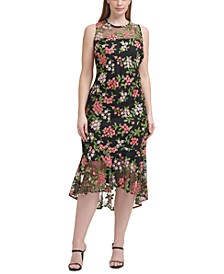 Plus Size Floral-Embroidered Midi Dress