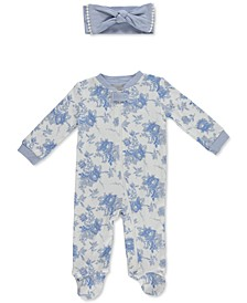 Baby Girls 2-Pc. Floral-Print Cotton Coverall & Headband Set
