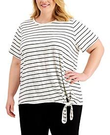 Plus Size Striped Tie-Hem Top