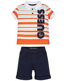 Baby Boys 2-Pc. Striped Logo Polo & Shorts Set