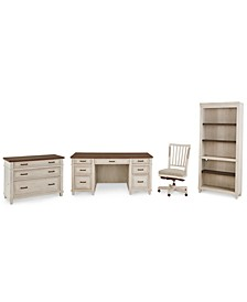 Dawnwood Home Office, 4-Pc. Set (Executive Desk, Office Chair, File, Open Bookcase)