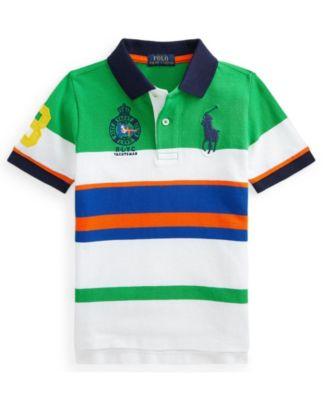 폴로 랄프로렌 Polo Ralph Lauren Little Boys Big Pony Striped Mesh Polo Shirt,Golf Green Multi