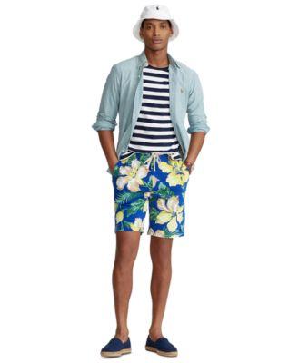 폴로 랄프로렌 Polo Ralph Lauren Mens 8-Inch Floral Spa Terry Shorts,Royal Hibiscus Fronds Print